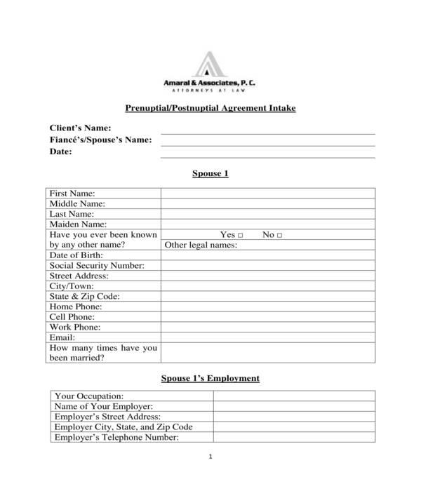 postnuptial agreement intake form