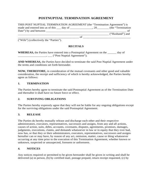 postnuptial termination agreement form