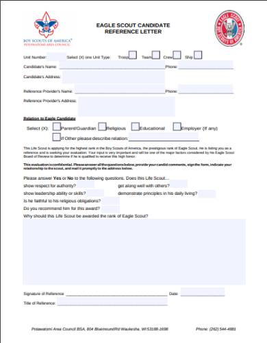 potawatomi area council eagle reference form
