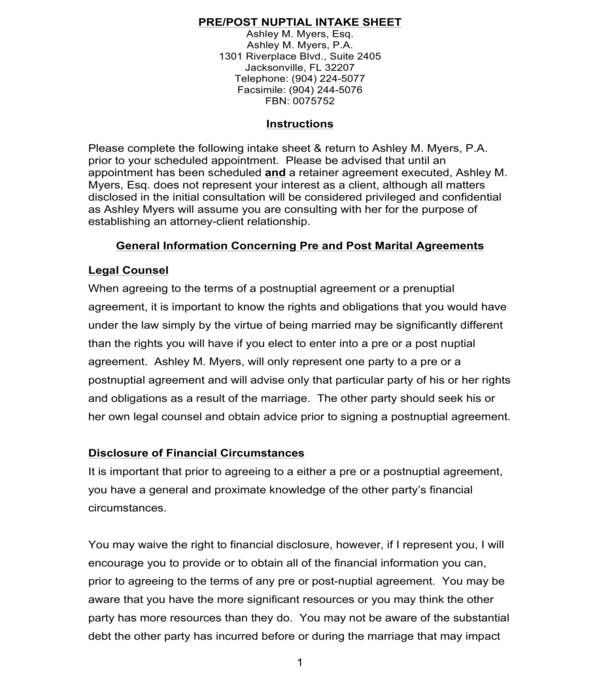 pre post nuptial agreement intake sheet form