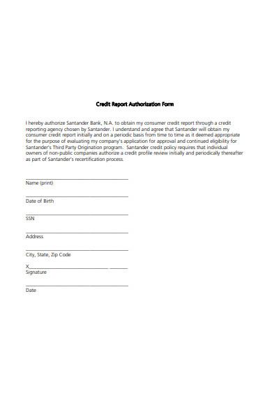 printable credit report authorization form