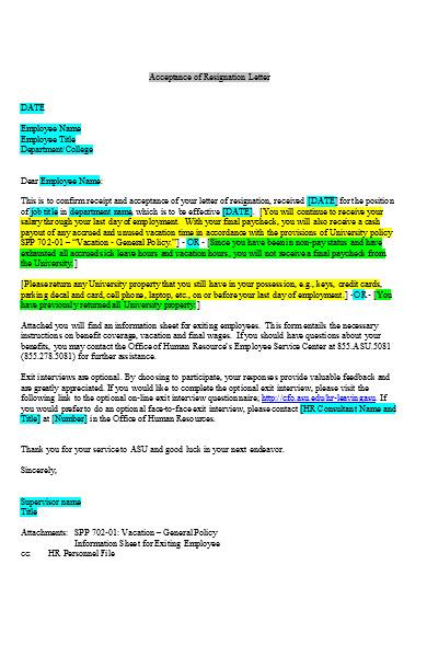 professional job resignation letters sample
