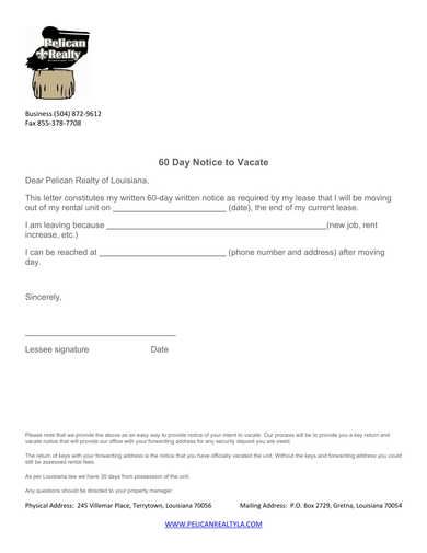 realty 60 day notice to vacate form