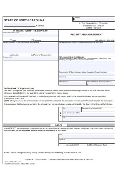 receipt of agreement form