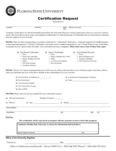 request for academic certification form