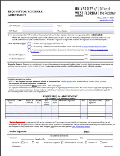request for schedule adjustment form