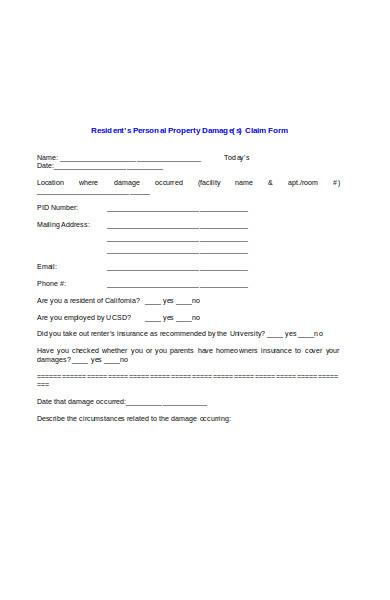 resident property damage release form