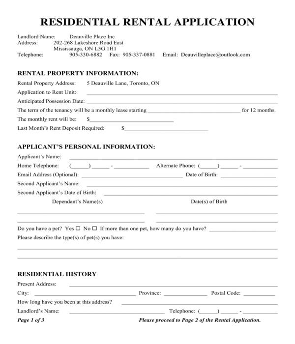 residential apartment rental application form