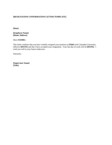 resignation confirmation letter