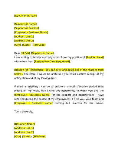 resignation letter in doc
