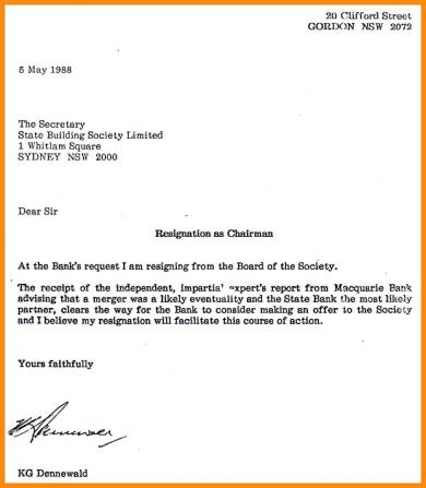 sample board chairman resignation letter