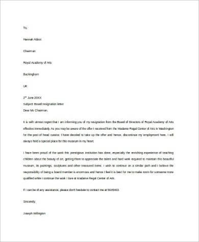 sample board member resignation letter