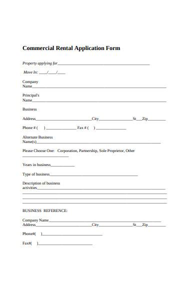sample commercial rental application form