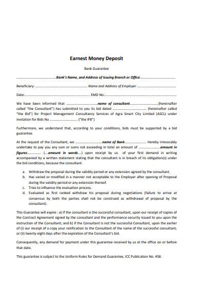 sample earnest money deposit receipt