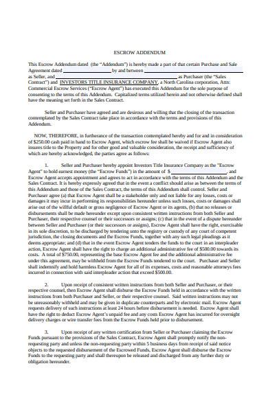 sample escrow holdback agreement addendum