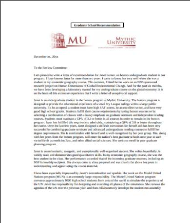sample graduate school recommendation letter