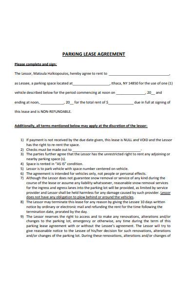 sample parking lease agreement form