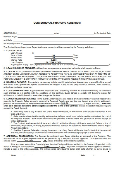 sample usda financing addendum