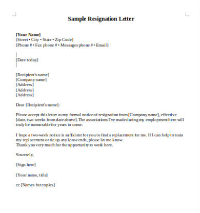 Resignation Letter Word Doc from images.sampleforms.com