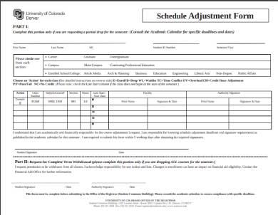 schedule adjustment form