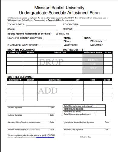 schedule adjustment request form