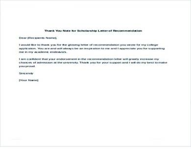 scholarship recommendation thank you letter template 1