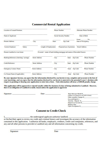 simple commercial rental application form