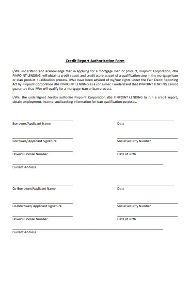 simple credit report authorization forms