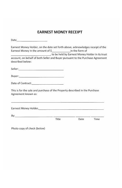 simple earnest money deposit receipt