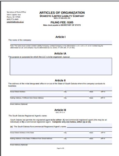 south dakota state articles of organization form