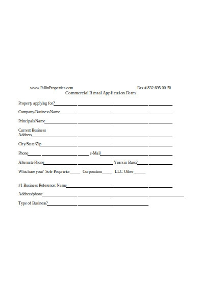 standard commercial rental application forms