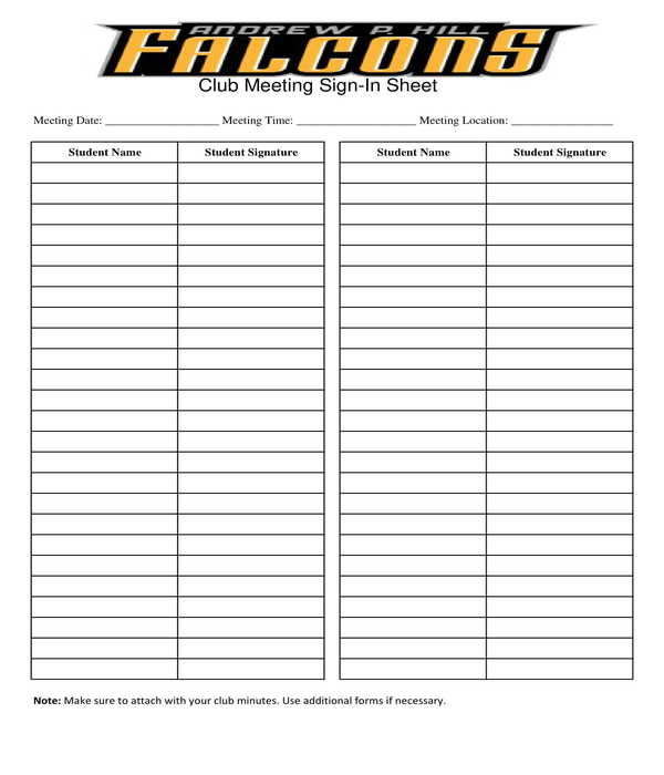 student club meeting sign in sheet