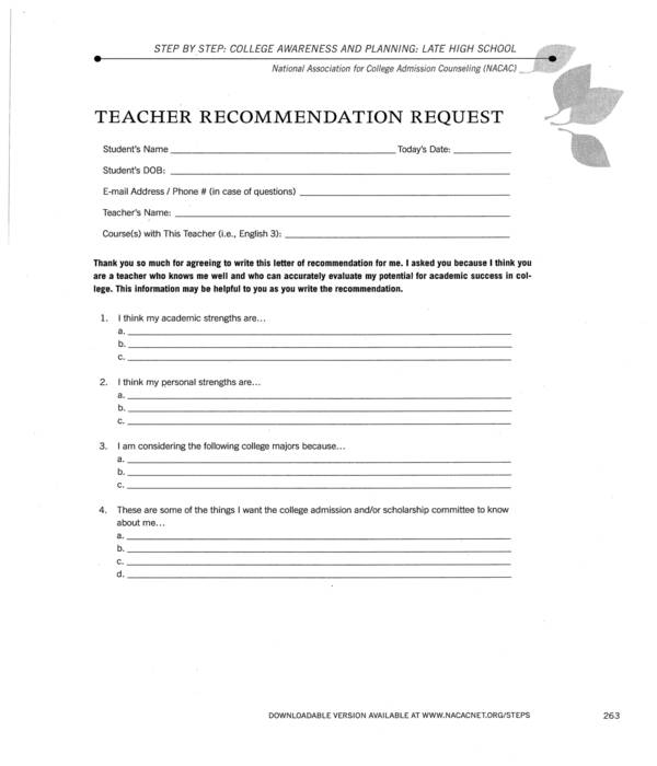 student recommendation letter request to teacher