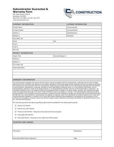 subcontractor guarantee and warranty form