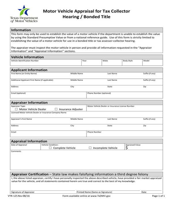 tax collector motor vehicle appraisal form