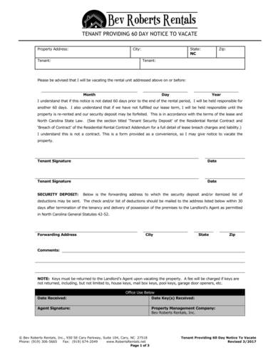 tenant 60 day notice to vacate form