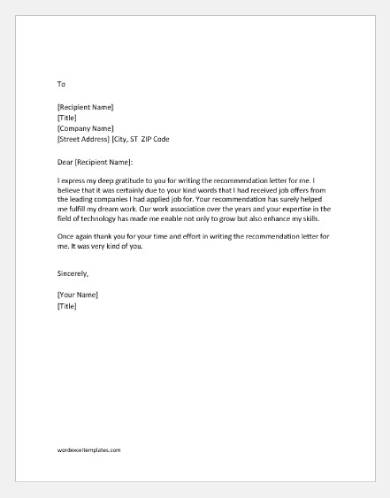 thank you for job recommendation letter template1
