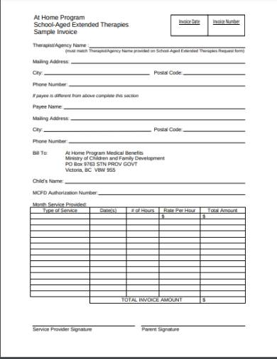 therapy sample invoice