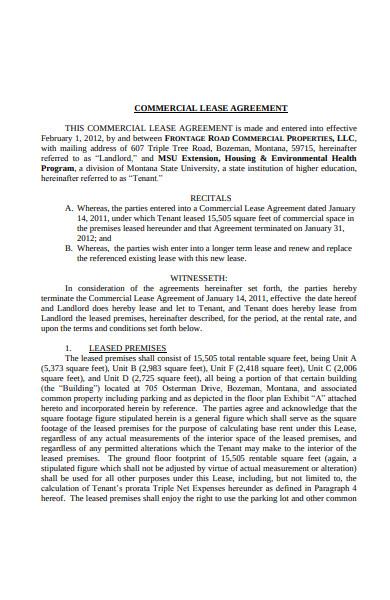 triple net commercial lease agreement