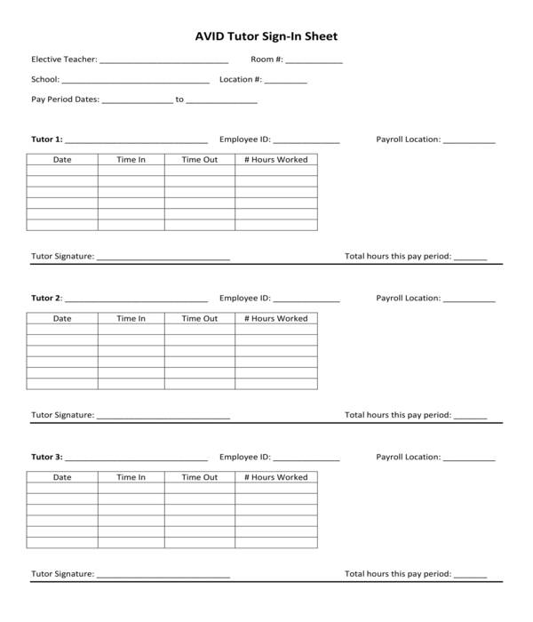 tutor employee sign in sheet