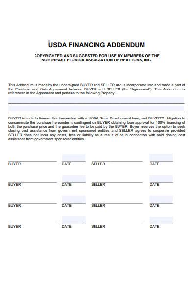 usda financing addendum