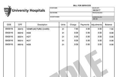university hospitals sample bill