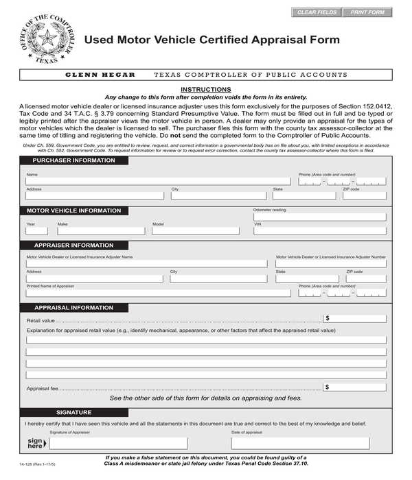 used motor vehicle certified appraisal form