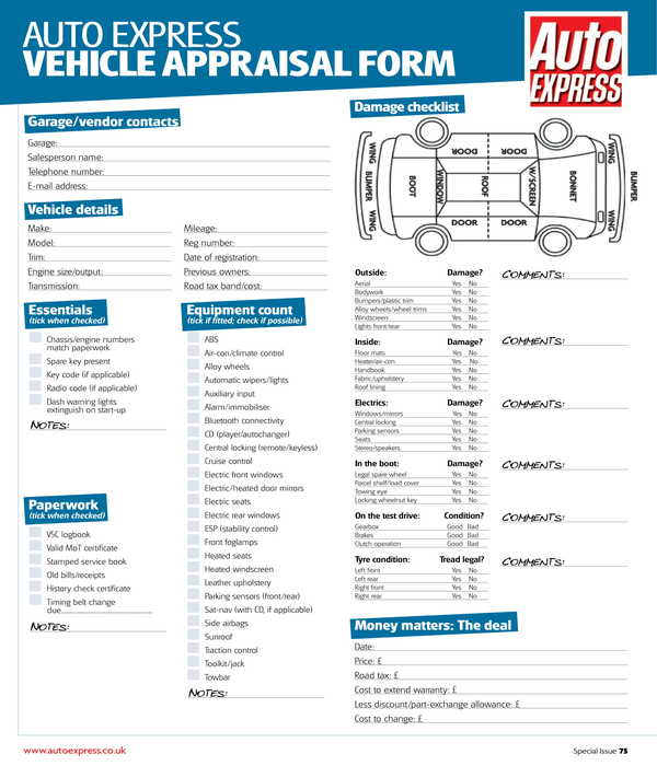 vehicle appraisal form sample