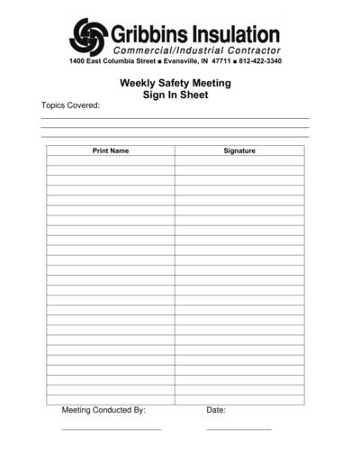 weekly safety meeting sign in sheet