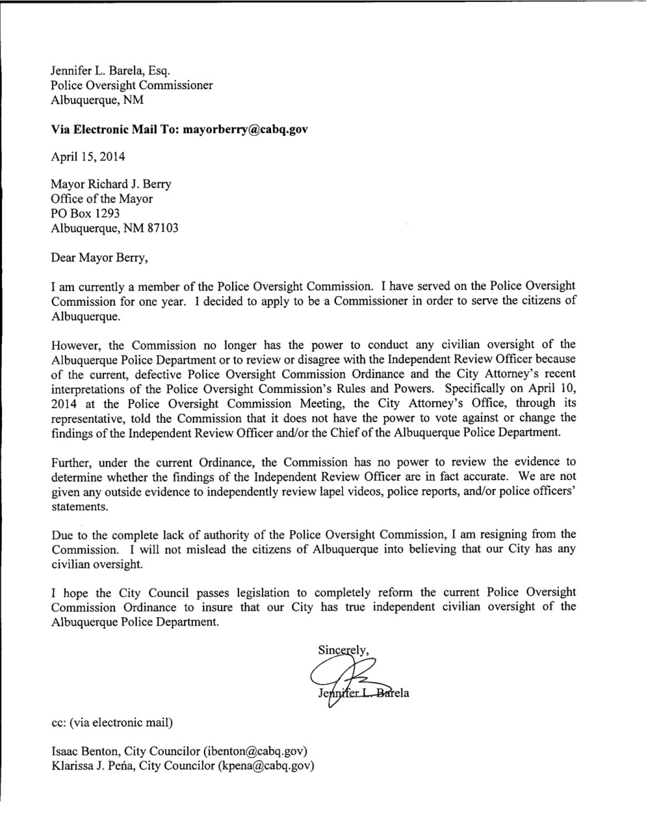 barela poc letter of resignation