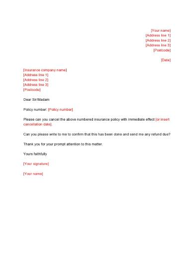 insl001 letter to cancel an insurance policy page0001 1