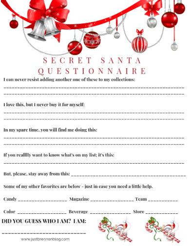 5 Secret Santa Questionnaire For Adults Pdf