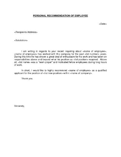 personal recommendation letter pinterest