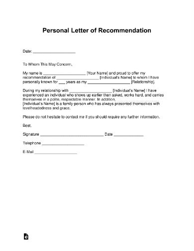 FREE 5+ College Letter of Recommendation in PDF | MS Word